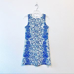 Paisley Blue Print Shift Work Dress XS